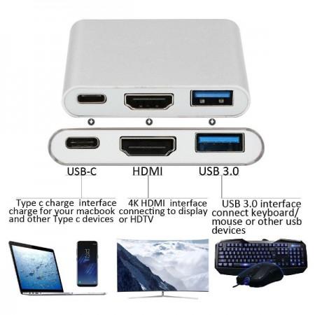 Asonic USB Tip C na HDMI, USB 3.0, USB Tip C