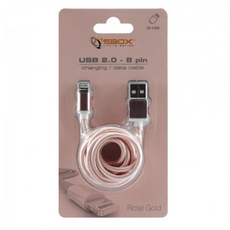 SBOX kabel USB->iPh.7 M/M 1,5M zlatno roza, 2kom