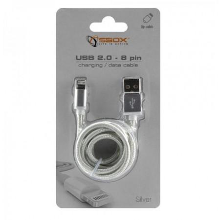 SBOX kabel USB->iPh.7 M/M 1,5M srebrni, 2kom