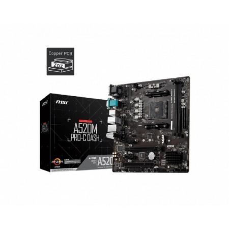 MSI A520M PRO-C Dash, AM4, DDR4, U3,mATX