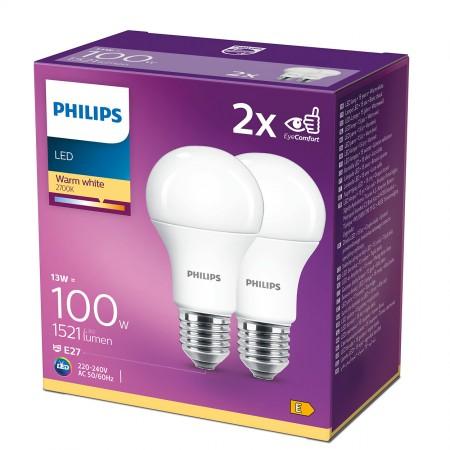 Philips LED žarulja, E27, A60, topla, 13W, mat. 2x