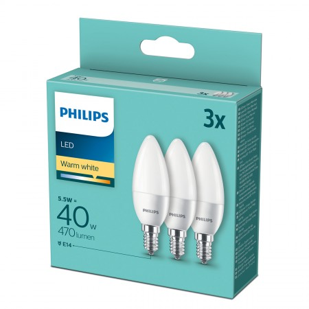 Philips LED žarulja, E14, B35, topla, 5.5W, 3 kom.