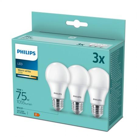 Philips LED žarulja, E27, A60, topla, 10W, mat. 3x